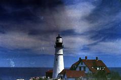 Portland Head Light (Kelly Marciano) Tags: ocean blue sea lighthouse film analog 35mm diy maine fujifilm analogue canona1 portlandheadlight selfdeveloped superia200 c41 colornegativefilm scannednegatives thatsky canoscan9000