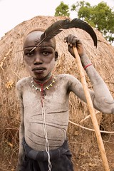 Young Mursi (Rod Waddington) Tags: africa african afrika afrique ethiopia ethiopian ethnic etiopia ethnicity ethiopie etiopian thiopien omovalley omoriver omo mursi tribe tribal traditional culture cultural painted body feather donga mago