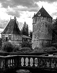 view from the abbot's garden mono (PDKImages) Tags: old windows france church monochrome beauty abbey architecture ginger curves bordeaux shutters balconies stemillion brantome