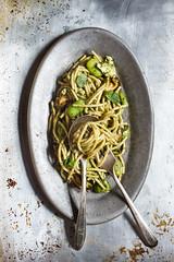 Spaghetti Con Zucchine Fritte (Ev11Rev7) Tags: spaghetti zucchini favabeans bean pesto basil summer bbq grilling salad