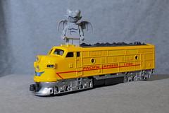 The Gargoyle on a Train (micro.burst) Tags: home toy lego gargoyle hoscale locomotive olympusem10 olympusviewer3