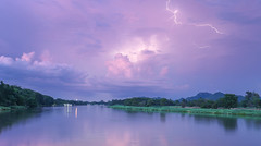 Thunder river (Tricycl) Tags: red river lightning water pink sunset orage clair eau arbres trees grass herbe 1740mm canon 5d mark iii 3 clouds nuages coucher de soleil kanchanaburi kwai reflets reflections