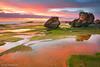 Green and Red (renatonovi1) Tags: green red sunrise beach sea ocean clouds sky water reflections light seascape landscape coast rock turimetta sydney nsw australia
