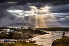 Contemplating (www.vincent.photo) Tags: ocean sea sunlight water port landscape harbor boat iceland sunray islande