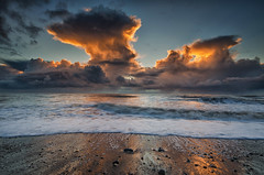 Another from Thorney Nook (kidda63) Tags: sunset water clouds fire waves