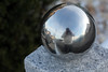 Fatso Photo (gripspix (OFF)) Tags: autumn reflection fall perception steel herbst spiegelung polished stahl selfie gardenball glänzend wahrnehmung gartenkugel selbstwahrnehmung 20141117
