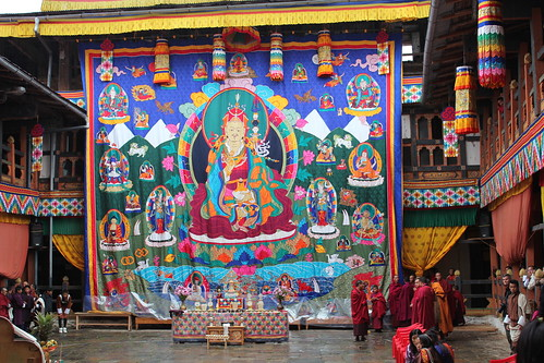 Jakar tshechu, Guru Rinpoche thongdrel with the Guru, his two wives and eight manifestations