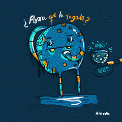 Amigo secreto (Andreaga) Tags: blue peru monster illustration digital lima vector ilustraciones amigosecreto secretfriend mostrito andreaga ilustracionamigosecreto ilustracionnavidea
