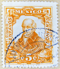 old stamp Mexico 5c (Miguel Hidalgo y Costilla, 1753-1811, priest, freedom fighter, mexican independence) selo México sellos Μεξικό γραμματόσημα Meksika pullar Messico francobollo 墨西哥 邮票 Mexique timbre Mexiko เม็กซิโก แสตมป์ Mexikó bélyegek Briefmarke 5c