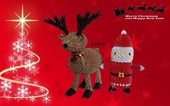 Reindeer and Santa Claus Origami 3d (Samuel Sfa87) Tags: santa christmas xmas natal paper reindeer navidad origami arte handmade crafts craft noel sfa block claus natale carta babbo artisan reindeers papai renne papercraft christma renna arteempapel blockfolding origami3d sfaorigami sfa87 arteconlacarta