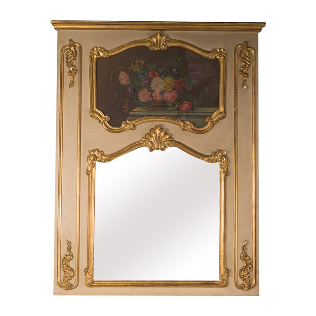 French Vintage Trumeau Mirror with Still Life Painting