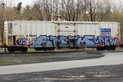 AMFM Crew (BombTrains) Tags: road railroad art up train bench graffiti am paint pacific tag graf union rail spray crew 09 express graff fm 2009 freight reefer amfm chilled armn fr8 benching 922052