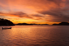 Sweet Dreams Are Made Of This. (Pete 5D......) Tags: ocean sunset sea sky cloud mountain reflection water clouds thailand evening boat asia dusk south horizon east formation thai tropical cape range far tropics longtail panwa