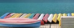 Moraine Lake ~ canoe pano (karma (Karen)) Tags: canada topf25 docks boats piers lakes canoes alberta brightcolors 4summer morainelake canadianrockies banffnp cmwdyellow canadanationalparks