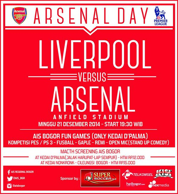 AIS Regional Bogor #AIS @AIS_BGR: #matchScreening LIVERPOOL vs ARSENAL | minggu, 21 des 2014 | KEDAI DPALMA jl. jalak harupat | HTM: 12k gasppooool!! sY5aevshjpv