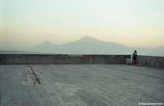 Two. (Hayk Senekerimyan) Tags: boy sunset two sky mountains film girl evening couple angle kodak stones balcony foggy row armenia romantic yerevan cascade far tops ararat profoto