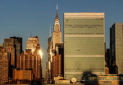 42nd Street (Mark J. Whalen) Tags: city nyc newyorkcity sunrise manhattan canyon unitednations artdeco chrysler 42ndstreet
