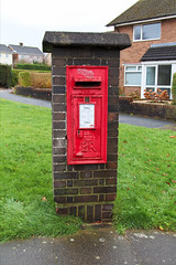 Wall mounted box in purpose built brick column Llanyrafon Way junction Liswerry Drive Llanyrafon, Cwmbran 22.12.2014 (2) (The Cwmbran Creature.) Tags: office post o box g pillar p kiosk k6 gpo