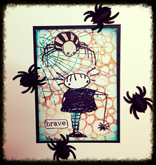 ATC Spider alert! (Stampinkie) Tags: atc artisttradingcard rubberstamping distressink stampotique