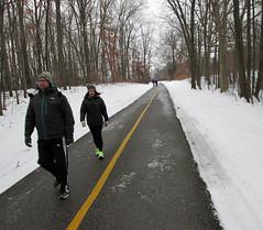 Winter exercise (Larry the Biker) Tags: park winter snow bikepath path michigan january trail walkers pathway biketrail stonycreekmetropark trailway washingtontownship