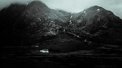Dusk (hermez) Tags: blackandwhite mountains wet rain fog silver dark landscape scotland highlands europe solitude unitedkingdom dusk grain cottage glencoe emptiness aonacheagach canoneos5dmk2 canonef16354lisusm