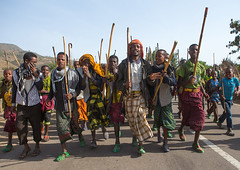 Oromo men with canes dancing during a wedding celebration, Oromo, Sambate, Ethiopia (Eric Lafforgue) Tags: africa wedding people color men horizontal religious outdoors togetherness sticks day african muslim islam joy culture marriage happiness celebration celebrations canes guest ethiopia cheerful joyful adults celebrate groupofpeople enjoyment onthemove celebrating islamic weddingceremony developingcountry indigenous ethnicity traditionalculture hornofafrica happily eastafrica abyssinia worldculture realpeople onlymen fulllenght oromo cheerfully africanethnicity traditionalceremony lifeevent modernityandtradition sambate ethio161181