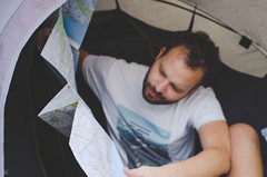 Reading maps before next adventure (- m i l i e d e l -) Tags: voyage travel wild camp portrait portugal photography photographer map north traces adventure explore chemin wander tente photographe aventure photographemontpellier emiliedelmond miliedel