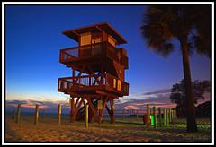 Lifeguard tower at night (coldnebraskablue) Tags: sunset beach gulfofmexico night stars sand florida dusk slowshutter fl 1855 lifeguardtower gulfcoast holmesbeach manateebeach nikond7100