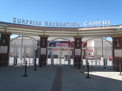 Main Entrance at Surprise Stadium -- Surprise, AZ, March 09, 2016 (baseballoogie) Tags: arizona canon baseball stadium az powershot surprise ballpark springtraining royals kansascityroyals cactusleague baseballpark surprisestadium 030916 sx30is canonpowershotssx30is baseball16