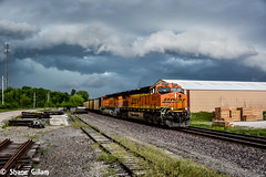 Racing the storm on the BNSF. (Machme92) Tags: railroad sky rain clouds nikon tracks rail trains bn american missouri rails storms ge railfan bnsf railroads railfanning gevo railfans oldmonroe trainrace nikond7200 burligrton