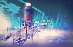 THE FERRY. (WHOLE WHEAT Landscapes) Tags: light sunset sky sun lighthouse house fish statue set clouds lights shark boat dock ship wheat toast smoking chain whole deck secondlife second screaming miricales