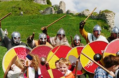 Aaarrrgghhhh!!!! (crapatdarts) Tags: grass training children outdoors helmet warriors nationaltrust shields corfecastle saxons crapatdarts