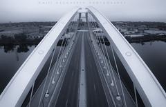 Lowery Lines (matthewdaugherty@yahoo.com) Tags: city bridge blackandwhite monochrome minnesota architecture photography blackwhite cityscape minneapolis arches aerial drone