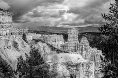 Hoodoos & Rain, Bryce Canyon, Utah (thatoverallsguy) Tags: park city cliff storm rain rock digital landscape photography utah fuji silent desert outdoor hill canyon formation national fujifilm bryce mountainside foothill crag x100t
