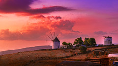 Windmill - Kythnos (Septro) Tags: pink light sunset red sky orange cloud sun color windmill landscape island holidays best greece bluehour vacations kythnos