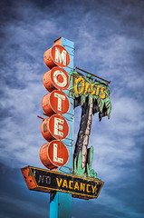 Somewhere Else (Wayne Stadler Photography) Tags: old sky canada sign rural neon country motel alberta weathered aged prairies