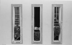 Windows and Pots (H_H_Photography) Tags: nikon adox silvermax d76 nikonfe2 windows frames window pots flowerpots negativespace framing stilllife travel vietnam silver cantho blackandwhite bw beautiful excellent analog film filmphotography 135film art 50mm 100iso