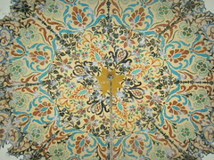 Islamic dome art at tomb of Farid al-Din Attar (Germán Vogel) Tags: asia westasia middleeast middleeastculture gettyimagesmiddleeast muslim muslimculture poetry poet attar theconferenceofbirds attarofnishapur neyshabur nishapur nishabur faridaldinattar khorasan razavikhorasan memorial monument tomb ceiling decoration design dome islamic art architecture turquoise circle floral pattern mosaic travel tourism sufi mystic