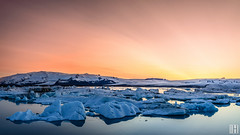 "Jkulsrln ""glacial river lagoon"" (gregor H) Tags: sunset panorama ice landscape island dawn is lagoon glacier iceberg austurland"