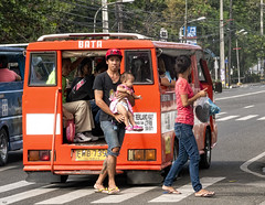 Carrying Baby (Beegee49) Tags: jeepney street parents baby carrying filipina bacolod city philippines