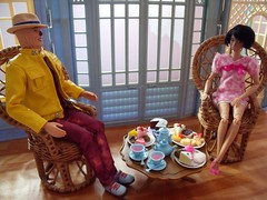Tea Time 2 of 3 (suekulec) Tags: 16 playscale diorama afternoon tea cake pastries teapot poppy parker mood changers scarecrow ken doll