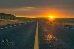 Palouse Sunset (APGougePhotography) Tags: sun sunset road washington palouse eastern state clouds fence field fields