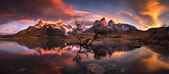Grand Prospect (Bruce_Hood) Tags: chile panorama patagonia lake mountains reflection clouds sunrise landscape panoramic colourful glacial