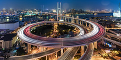 Nanpu Bridge 05 - 15-Jul-2016 (--) Tags: alpa 12 max rodenstock hr 32mm f40 f4 phase one p45 long exposure wide angle stitch night city lights light trails rain storm cityscape architecture shanghai china