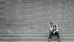 Enjoy-The-Silence.jpg (NoBudgetPhoto.de) Tags: frau dream women street saarlouis treppen bw stairs schwarzweiss silence