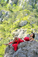 _D3S5111b (Concert Photography and more) Tags: trees red nature beauty model rocks posing carnia reddress torrent friuliveneziagiulia moggio outdoorshot glagn 2016junejulyitalyeffeefferedspirit