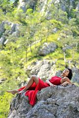 _D3S5111b (Concert Photography and more) Tags: trees red nature beauty model rocks posing carnia reddress torrent friuliveneziagiulia moggio outdoorshot glagnò 2016junejulyitalyeffeefferedspirit