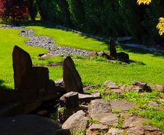 Meditation Garden (starmist1) Tags: rockpool standingstones peace serenity quiet walk walking sit sitting contemplation grass basalt granite drystreambed poplartrees mindfulness meditation watercourse falls sounds cool shade trickle splash sun bench
