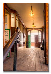 Booking hall (Descended from Ding the Devil) Tags: greatcentralrailway hdr heritage sonya7mkii sonyalphadslr bookinghall door fllorboards fullframe handrail lamps mirrorless photoborder steam steps suitcases windows