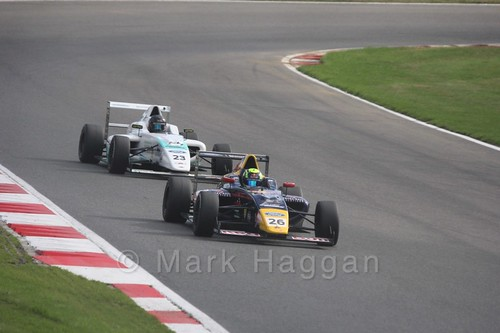 Luis Leeds and Billy Monger during British F4 during the BTCC Brands Hatch Finale Weekend October 2016